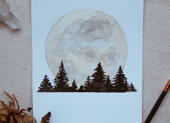 """'Forest Under the Moon' 4.5""""x6"""" Watercolor"""