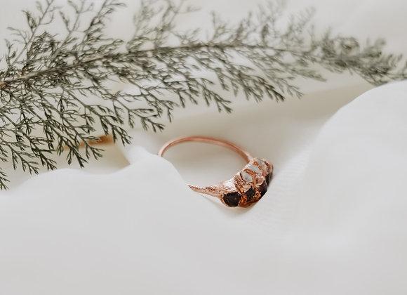 Garnet & Herkimer Diamond Ring