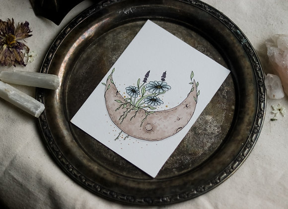 "Living Moon 4.5""x6"" Original Illustration"