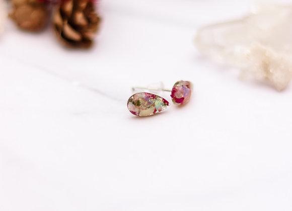 Opal Chip, Flower Petal & Moss Earrings