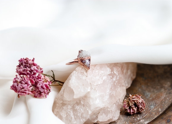 Opal Chip, Flower Petal, & Druzy Ring