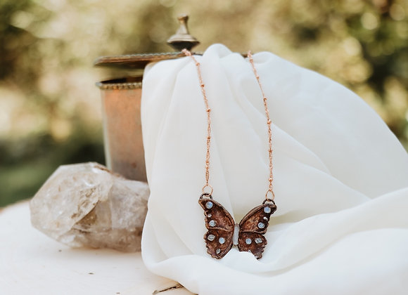 Moonstone & Herkimer Diamond Butterfly Necklace