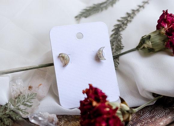 Opal Chip Moon Earrings