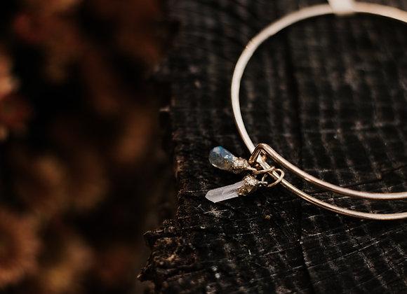 Labradorite & Quartz Charm Bracelet