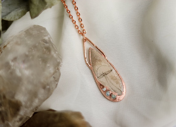 Mushroom & Opal Necklace