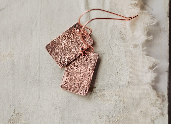 Copper Hammered Short Earrings