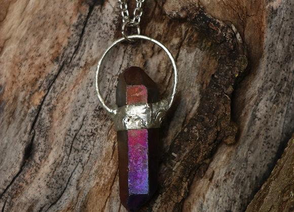 Purple Titanium Quartz Necklace