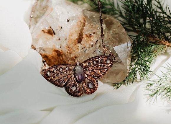 Amethyst & Herkimer Diamond Butterfly Necklace