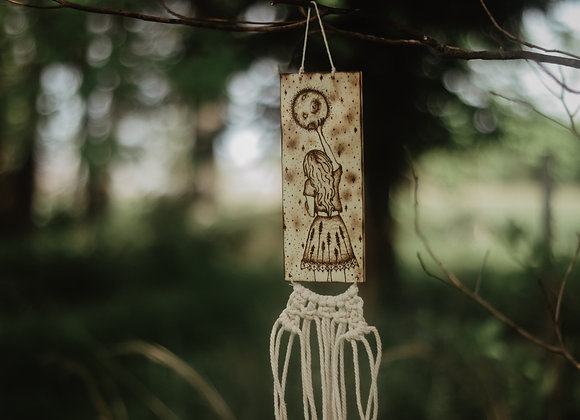 'Reaching For The Stars' Pyrography & Macrame Wall Art