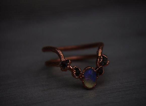 Opal & Herkimer Diamond Princess Ring