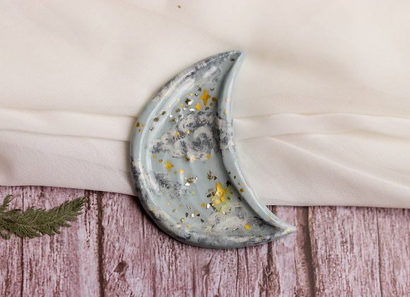 Tiny Moon Handpainted Jewelry Dish - Blue Clouds