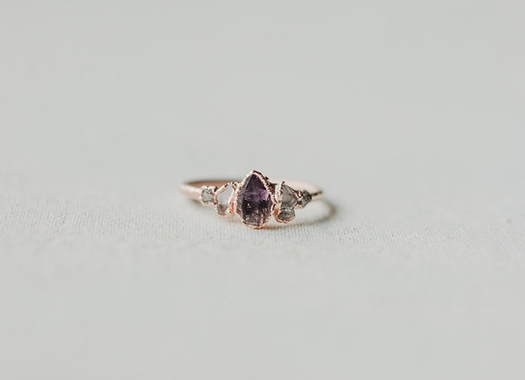 Amethyst, Herkimer Diamond, & Raw Diamond Ring