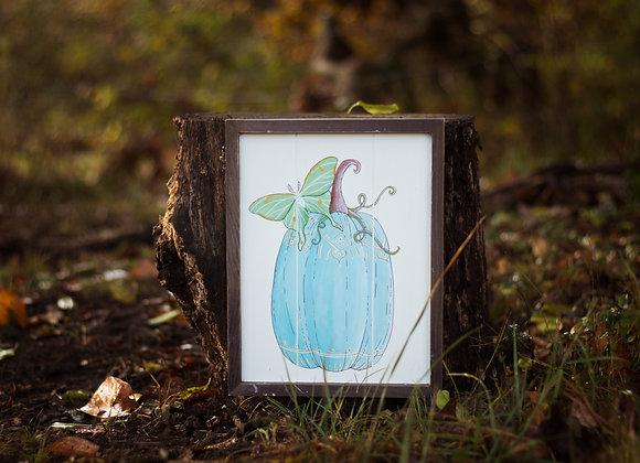 Blue Pumpkin & Luna Moth Painting