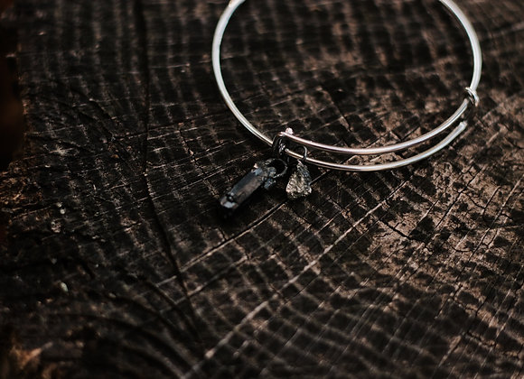 Pyrite & Black Tourmaline Charm Bracelet