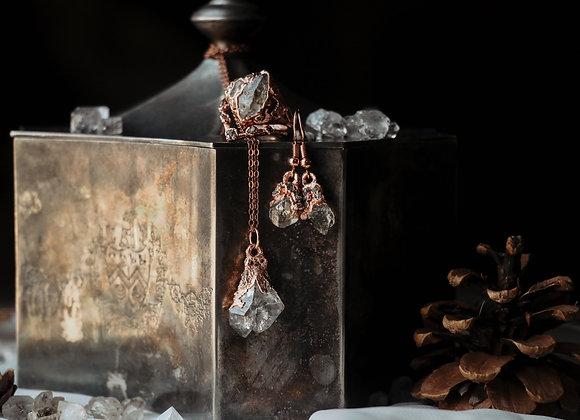 Raw Diamond & Quartz Necklace & Earring Set