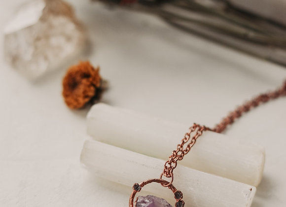 Amethyst & Herkimer Diamond Circle Necklace