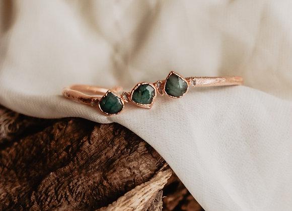 Emerald & Herkimer Diamond Bracelet