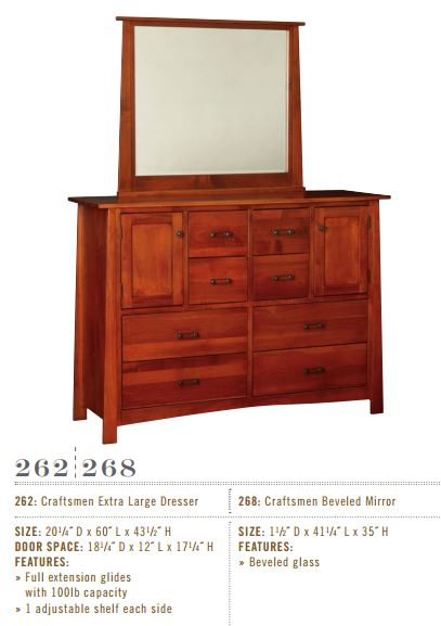 Craftsmen Extra Large Dresser and Mirror