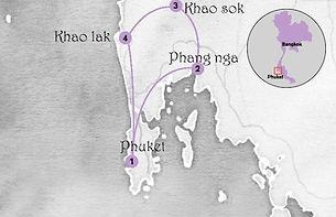 carte du sud de la thailande