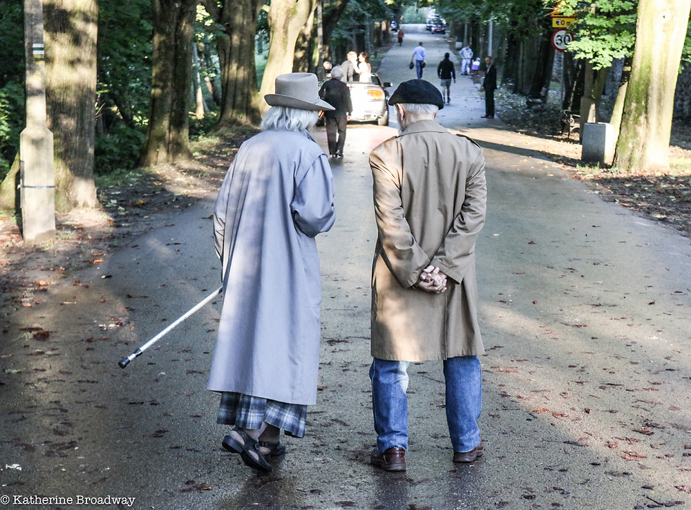 Image of 2 senior citizens strolling through a park. Raleigh Psychotherapy, counseling, Katherine Broadway, love