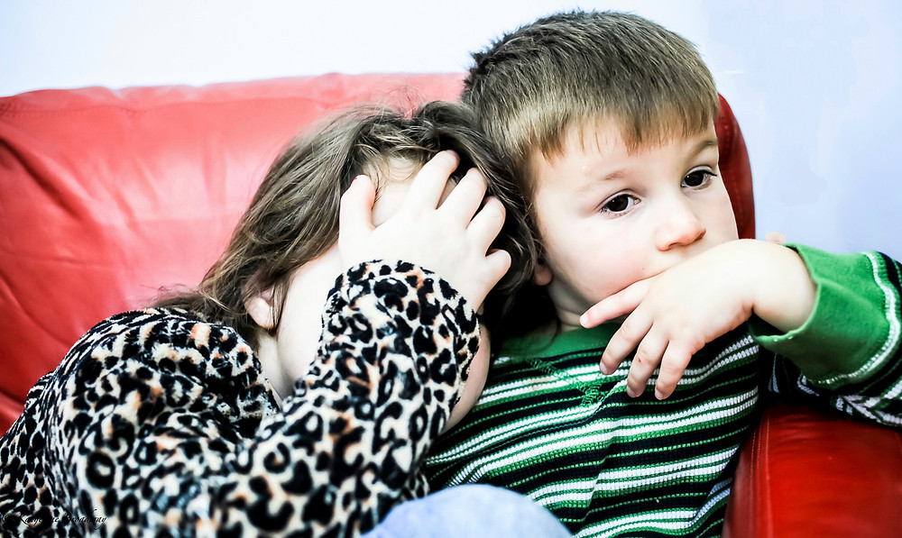 Image of young siblings leaning against each other on a red sofa. Raleigh Psychotherapy, counseling, Katherine Broadway