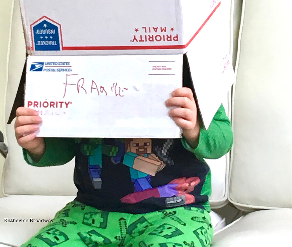 Image of child with priority mail box on their head.