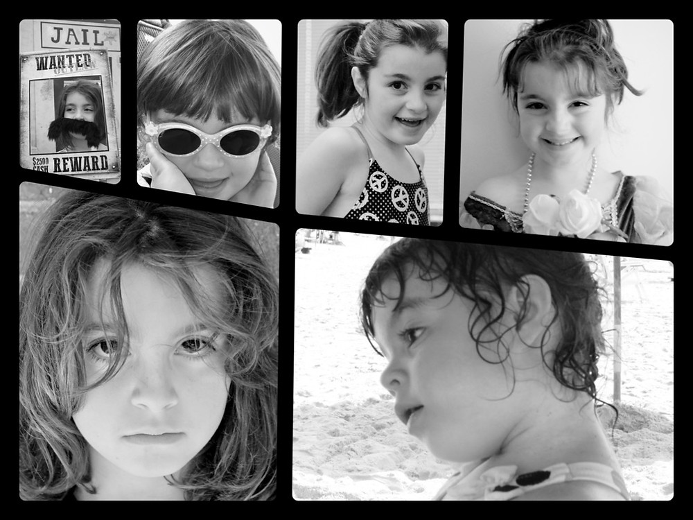 Montage images of young children in black and white.
