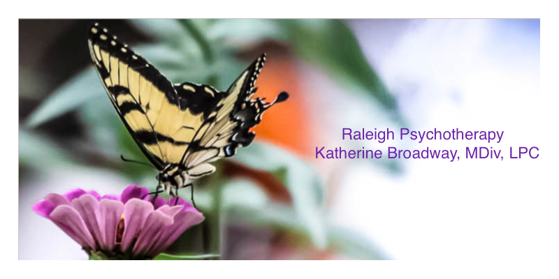 Image of yellow and black butterfly on a purple flower. Raleigh Psychotherapy, Katherine Broadway, counseling