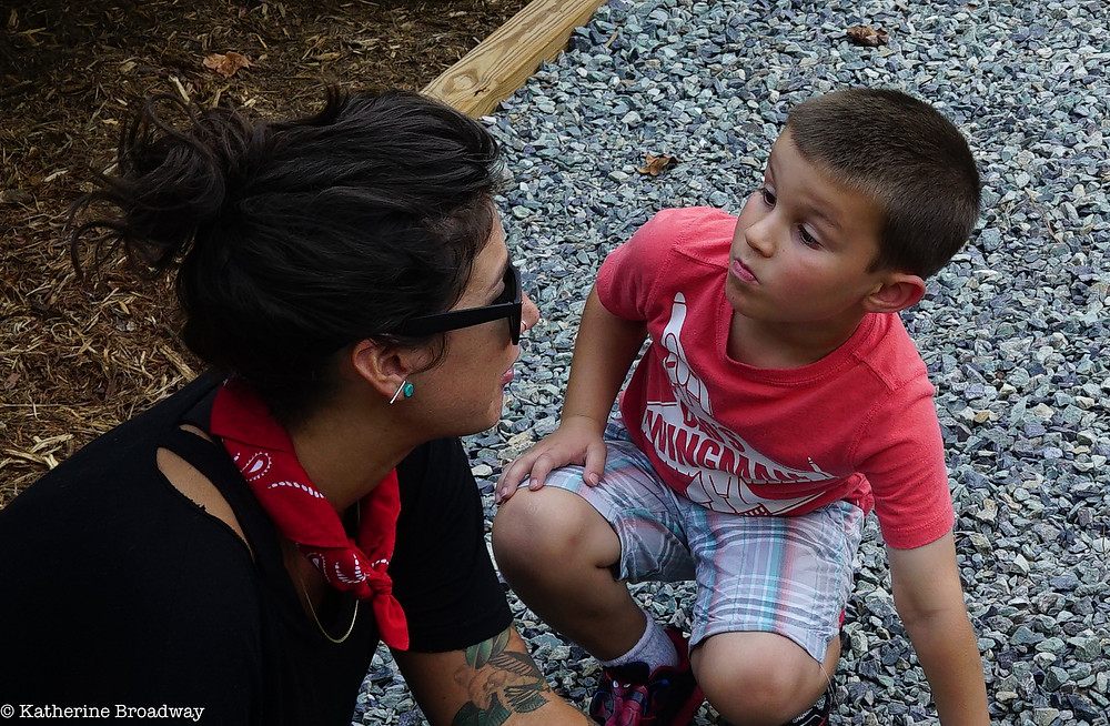 Image of a mom having a talk with a young boy. Raleigh Psychotherapy, Katherine Broadway, MDiv, LPC, conflict