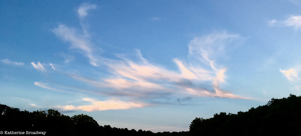 Image of feathered cloud in bright blue sky. Raleigh Psychotherapy, counseling, The Book Thief, Katherine Broadway