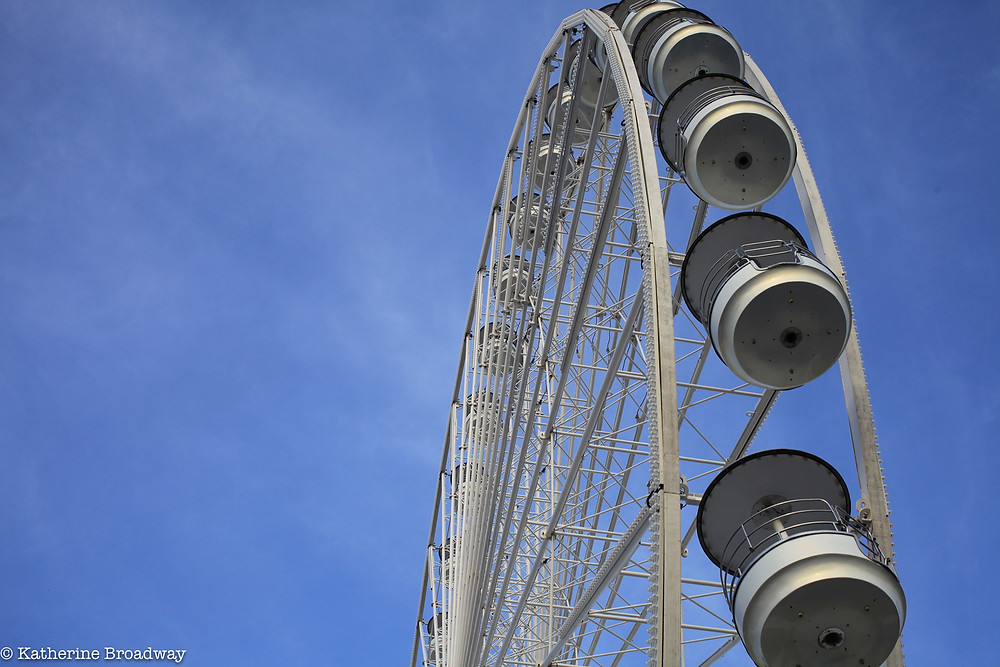 Image of Ferris wheel against blue sky. Raleigh Psychotherapy, counseling, multitasking, Katherine Broadway