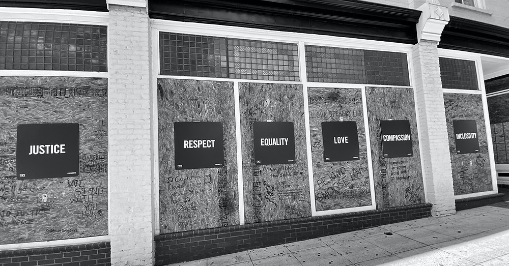 boarded up windows, Raleigh Psychotherapy, counseling, antiracism, Katherine Broadway