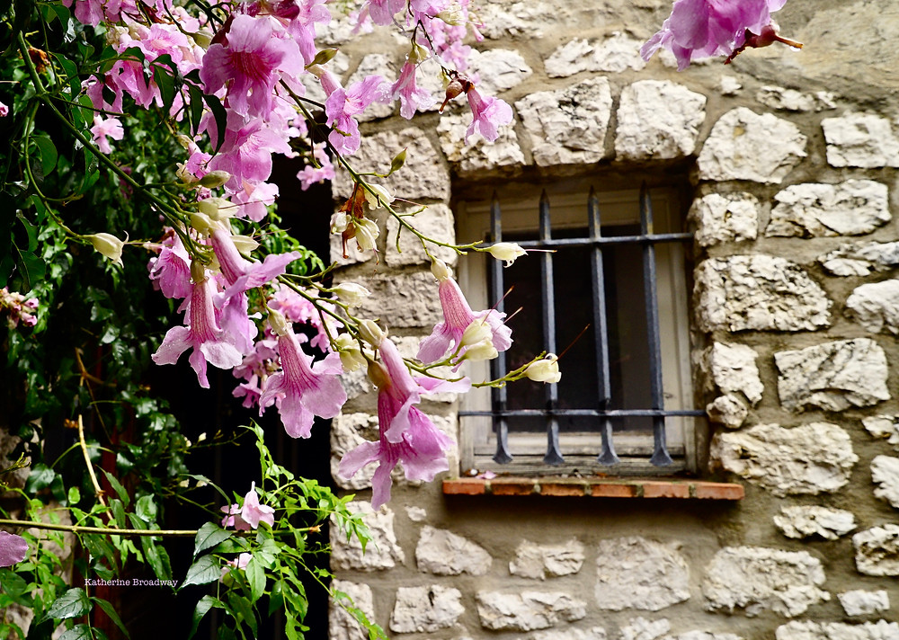 Image of old stone jailhouse with purple flowers in foreground.  Raleigh Psychotherapy, counseling, happiness, Katherine Broadway