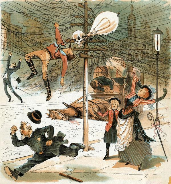 Old, early 20th century cartoon showing the dangers of electricity in New York