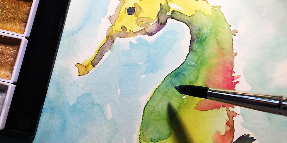 Seahorse in Watercolor
