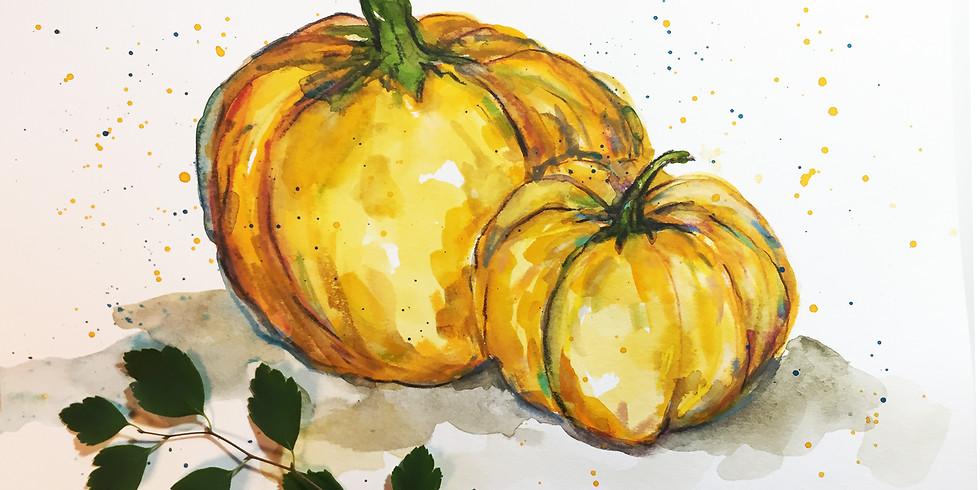 Pumpkins in Mixed Media