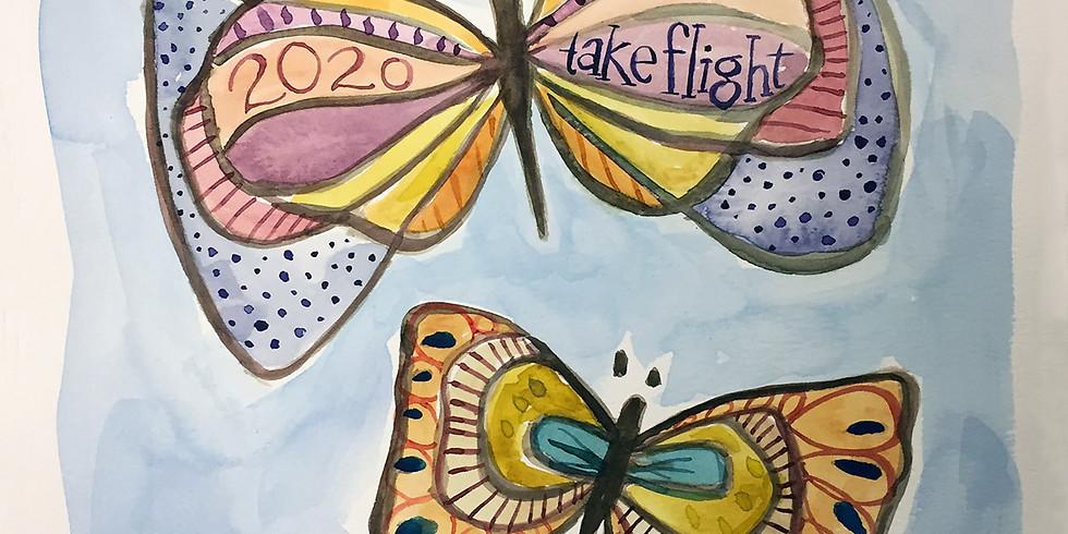 New Year Butterflies in Watercolor
