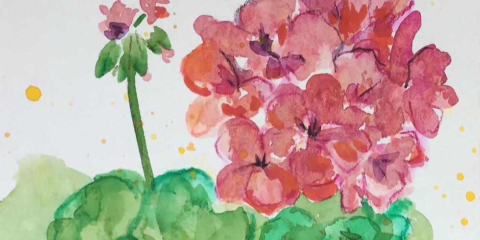 Geraniums in Watercolor (ONLINE)
