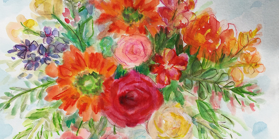 Bright Blooms in Mixed Media