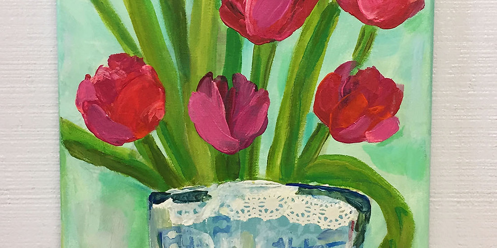 Mixed Media Tulips: Dine & Paint