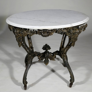Victorian Cast Iron & Marble Table