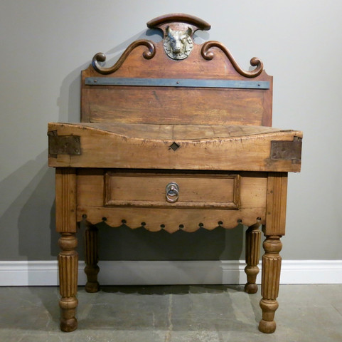 French Figural Butchers Block