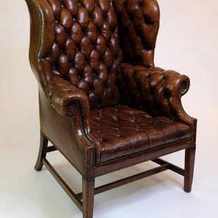English Leather Wing Chair