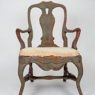 Pair Swedish Rococo Arm Chairs