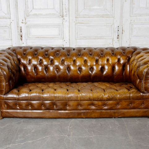 Buttoned English Leather Sofa