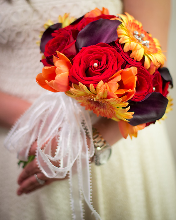 Red & Orange Bridal Bouquet