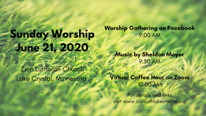 June 21, 2020 Sunday Worship Resources