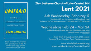 Lent 2021 Opportunities at Zion