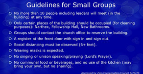 Guidelines for Small Group Gatherings
