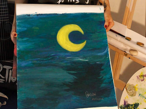Oceanic Crescent Moonshine Painting (SOLD)